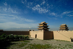 Jiayuguan. Mountain pass, Great Wall, the first pass, city wall, vestige, strategic pass, blue sky, tower over a city gate, old city, important pass, fort Royalty Free Stock Photos
