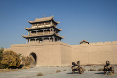 Jiayuguan castle, west end of Great Wall Stock Images