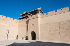 JIAYUGUAN, CHINA - Apr 13 2015: Jiayuguan Pass, west end of Great Wall. a famous Historical site(UNESCO World Heritage Site) in J stock photo