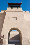 JIAYUGUAN, CHINA - Apr 13 2015: Jiayuguan Pass, west end of Great Wall. a famous Historical site(UNESCO World Heritage Site) in J stock photography