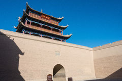 JIAYUGUAN, CHINA - Apr 13 2015: Jiayuguan Pass, west end of Great Wall. a famous Historical site(UNESCO World Heritage Site) in J royalty free stock image