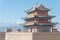 JIAYUGUAN, CHINA - Apr 13 2015: Jiayuguan Pass, west end of Great Wall. a famous Historical site(UNESCO World Heritage Site) in J stock image