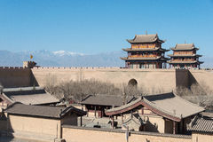 JIAYUGUAN, CHINA - Apr 13 2015: Jiayuguan Pass, west end of Great Wall. a famous Historical site(UNESCO World Heritage Site) in J royalty free stock photo