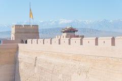 JIAYUGUAN, CHINA - Apr 13 2015: Monument of Jiayuguan Pass, west royalty free stock photography