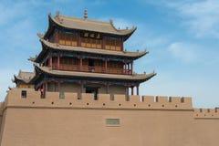 JIAYUGUAN, CHINE - 13 avril 2015 : Passage de Jiayuguan, West End de Grea Photographie stock libre de droits