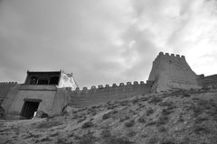 Jiayuguan city in black and white Royalty Free Stock Photography