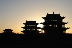 Jiayuguan city at sunrise Royalty Free Stock Images