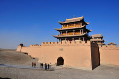Jiayuguan:the end of greatwall. It is the famous jiayuguan city which is the end of greatwall Stock Photo