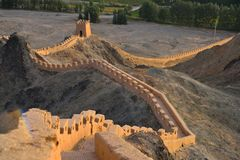 Jiayuguan Great Wall that hang in China. Hang a wall in the jiayuguan pass eight kilometers north stone gap on the north side of north slope in Montenegro. In stock photos