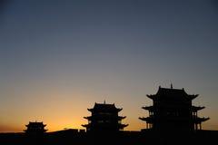 Jiayuguan miasto przy wschodem słońca Zdjęcia Stock