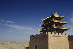 Jiayuguan Pass Tower on the Gobi Desert Royalty Free Stock Photos