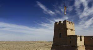 Jiayuguan Pass Tower on the Gobi Desert Royalty Free Stock Photography