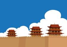 JiaYuGuan wielki mur Chiny ilustracja wektor