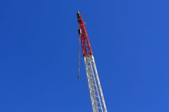 Jib crane. With cloudless sky in background royalty free stock image