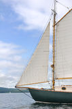 Jib, Foresail and Wooden Mast of Schooner Sailboat Royalty Free Stock Photography
