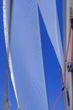 Jib sail and rigging on sailboat Royalty Free Stock Photo