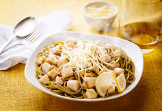 Jibia. Spagetti pasta with jibis and cheese sauce Royalty Free Stock Image