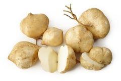 Jicamas auf Weiß Stockfoto