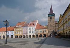 Jicin, Czech republic. Square with historic houses and Valdicka gate Jicin, Cesky Raj, Czech republic Stock Photo