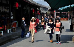 Jie Zi, China: Three Women on Jinyu Street Stock Photography