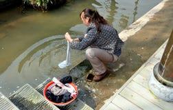 Jie Zi, China: Woman Doing Laundry Stock Photos