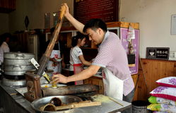 Jiezi, China: Worker Making Noodles Royalty Free Stock Photo