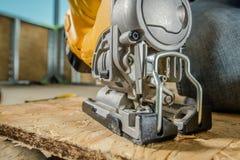 Jig κινηματογράφηση σε πρώτο πλάνο ξυλουργικής πριονιών στοκ εικόνες