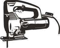 Jig saw tool. Vector clip art contour lines illustration  on white suitable for cutter plotter Stock Photography