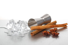 Jigger, ice and spices Royalty Free Stock Photography