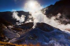 Jigokudani或地狱谷与日出 库存照片