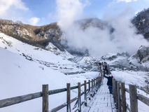 Jigokudani, conosciuto in inglese come valle dell'inferno è la fonte di h fotografie stock libere da diritti