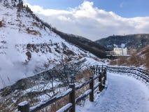 Jigokudani, conosciuto in inglese come valle dell'inferno è la fonte di h immagine stock