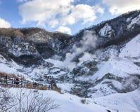 Jigokudani, conosciuto in inglese come valle dell'inferno è la fonte di h immagini stock libere da diritti