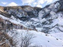 Jigokudani, conosciuto in inglese come valle dell'inferno è la fonte di h fotografia stock libera da diritti