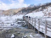 Jigokudani, conosciuto in inglese come valle dell'inferno è la fonte di h fotografia stock