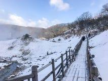 Jigokudani, conosciuto in inglese come valle dell'inferno è la fonte di h immagini stock