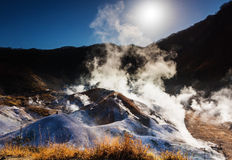 Jigokudani or Hell Valley against sunrise, Noboribetsu Royalty Free Stock Photography