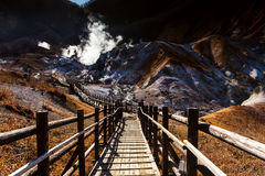 Jigokudani hell valley  in morning Stock Photos