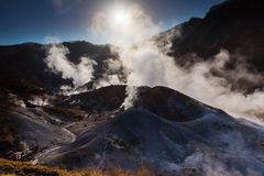 Jigokudani hell valley at sunrise in Noboribetsu Stock Photo