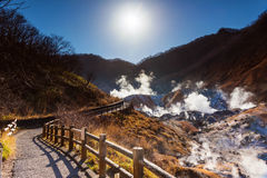 Jigokudani hell valley walking trail with sunrise Stock Image