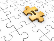 Jigsaw. Puzzle piece with keyhole. This is a 3d render illustration Royalty Free Stock Image