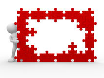 Jigsaw. 3d people - human character and a wall of the puzzle - jigsaw. This is a 3d render illustration Stock Photos