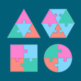 Jigsaw arrange to geometry shape Royalty Free Stock Images