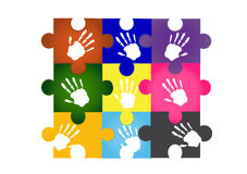 Jigsaw colorful handprint , illustrations Stock Image