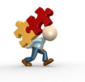 Jigsaw. 3d people - man, person carrying pieces puzzle- jigsaw Stock Photography