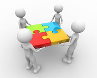 Jigsaw. 3d people - men , person and puzzle pieces ( jigsaw Royalty Free Stock Photo