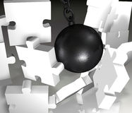 Jigsaw Demolition closeup Royalty Free Stock Photo