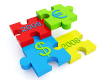 Jigsaw with dollar euro signs. A four pieces jigsaw with dollar euro signs and 2008 2009 year signs Stock Photography
