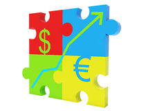 Jigsaw with dollar euro signs and diagram. A four pieces jigsaw with dollar euro signs and diagram Royalty Free Stock Photos