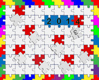 6 Jigsaw drop-down puzzle 2013- 2014 - Your text Royalty Free Stock Photography